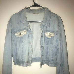 Denim jacket with lace